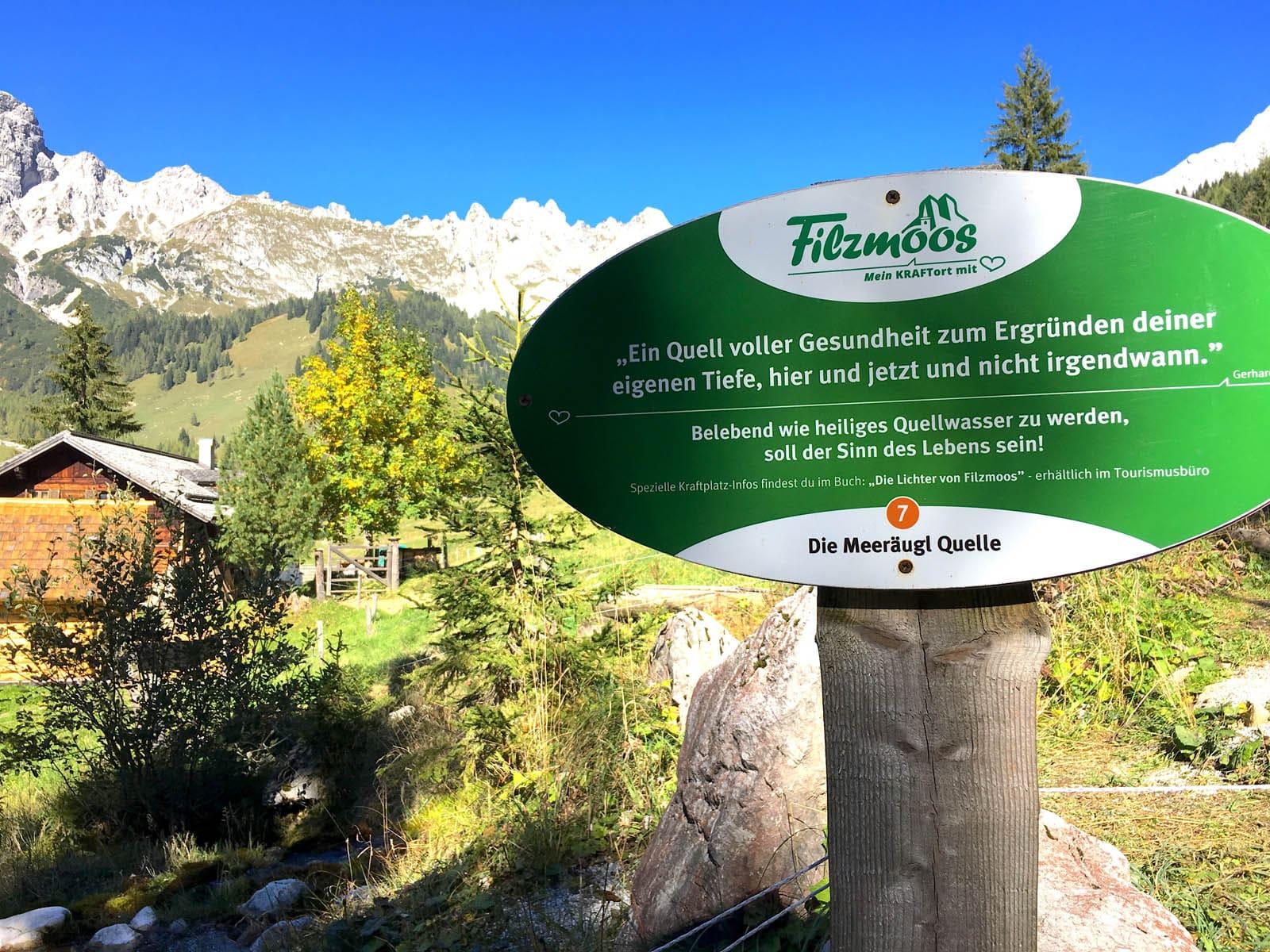 Die Kraft der Meeräuglquelle - Wanderung zum Kraftplatz über Filzmoos blogHuette.at image 11