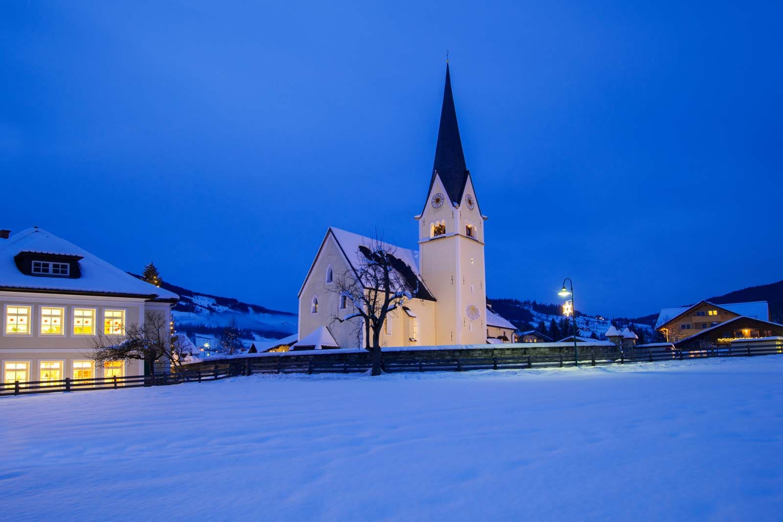 church and school in Wagrain in Salzburg