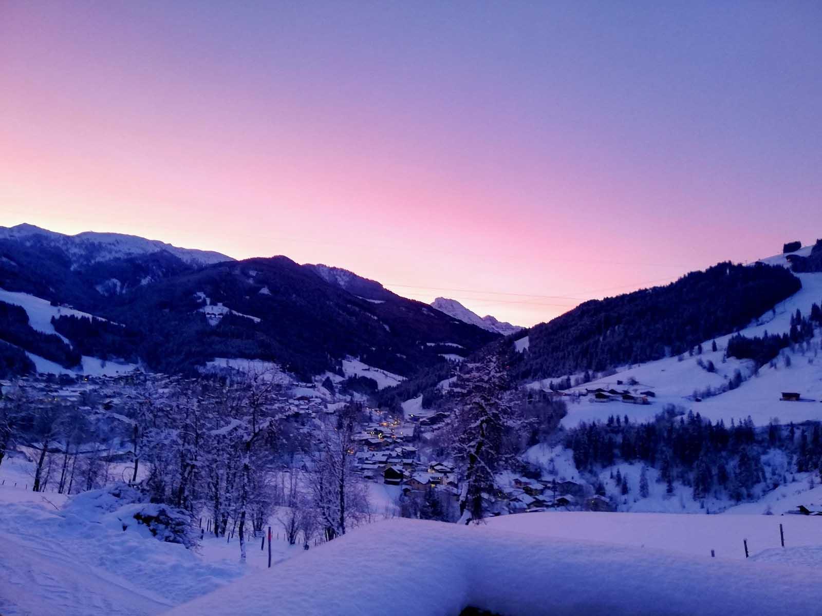 Morning atmosphere in winter in Salzburgerland